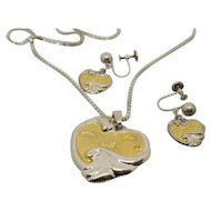 Sterling Silver & 18k Gold Gorham Footprints in the Sand Necklace & Earring Set