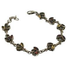 Sterling Silver SLG Citrine, Peridot & Garnet Bracelet
