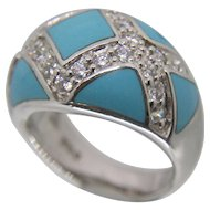 Sterling Silver Turquoise & CZ Ring