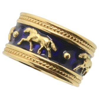 18k Yellow Gold Equine Enamel Horse Band/ Wedding Band