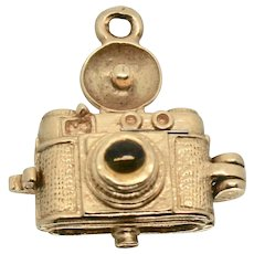 14k Yellow Gold Moveable Vintage Camera Charm