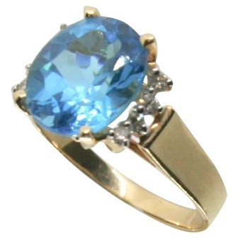 14k Yellow Gold JCR Blue Topaz & Diamond Ring