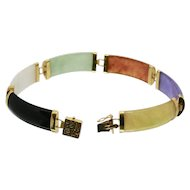14k Gold Multi Colored Jade Bracelet