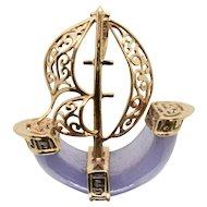 14k Gold Lavender Jade Sailboat Pendant