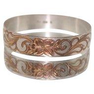 Hawaiian Plumeria Sterling Silver & Rose Gold Plated Bracelet