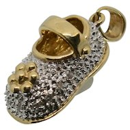14k Gold & Diamond Baby Shoe Charm/ Pendant