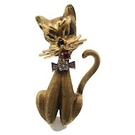 Vintage 14k Gold Dan Frere Cat Pin/ Brooch