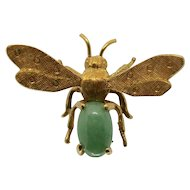 18k Yellow Gold & Jade Shreve & Co. Bee Pin/ Brooch