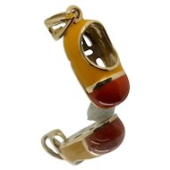14k Gold Orange & Yellow Enamel Baby Shoe Charm/ Pendant