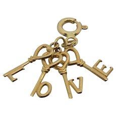 14k Gold L:O:V:E Keys Charm