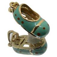14k Gold Baby Shoe w/ Blue Enamel Charm/ Pendant
