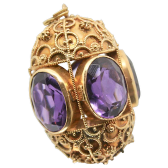 18k Gold and Amethyst Egg Shaped Art Deco Pendant