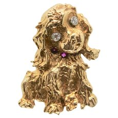 14k Gold Vintage Dog Pin/Brooch with Diamond & Ruby Accents
