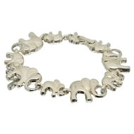 Sterling Silver Parade of Elephants Bracelet