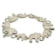 Sterling Silver Parade of Elephants Bracelet