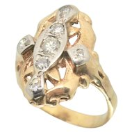 14k Gold Vintage Diamond Dinner Ring