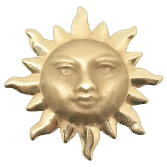 14k Solid Gold Smiling Sun & Ray Pendant marked H.O.B.
