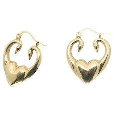 14k Gold Swan Heart Hoop Earrings