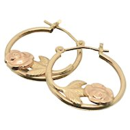 14k Gold JJT Rose Hoop Earrings