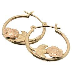 14k Gold JJT Rose Hoop Earrings