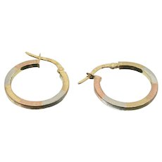 14k Tri-Colored Gold Hoop Earrings