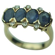 14k Solid Yellow Gold Blue Sapphire & Diamond Ring