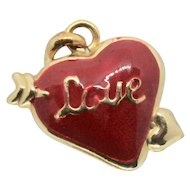 "14k Puffy Heart ""Love"" Enamel Charm/ Pendant"