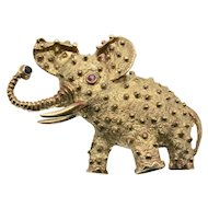 14k Gold Vintage Baby Elephant Pin/Brooch