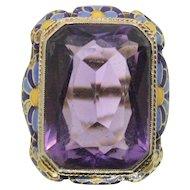 14k Amethyst & Enamel Design Ring