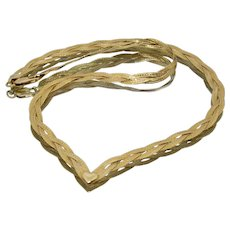 14k Gold Braided Chain Necklace with a Heart