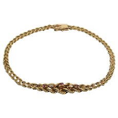 14k Gold Braided Rope Ruby & Diamond Bracelet