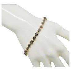 "10k Gold Mystic Topaz Princess Cut Tennis Bracelet ~ 7.5"""