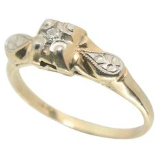 14k Vintage Diamond Engagement / Promise Ring