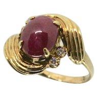 14k Ruby Cabochon & Diamond Ring