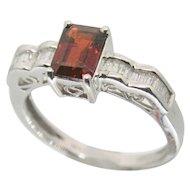 14k White Gold Garnet & Diamond Ring