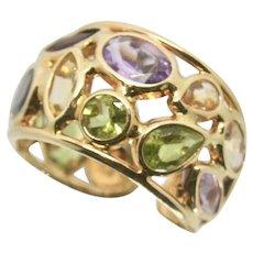 14k Gold Multi-Gemstone Cuff Ring
