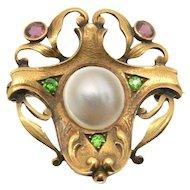 18k Art Nouveau Garnet, Pearl & Emerald Pin/Brooch