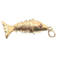 14k Gold Moveable Fish Charm/Pendant