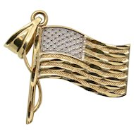 14k Yellow & White Gold American Flag Charm/Pendant