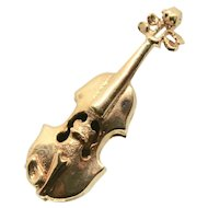 14k Yellow Gold Violin Charm