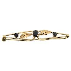 18k Gold & Sapphire Bar Pin/ Brooch