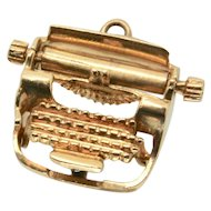 14k Gold Typewriter Charm with moveable parts