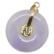 14k Gold Lavender Jade Circle Pendant