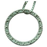 14k White Gold Diamond Open Circle Pendant & Matching Box Chain ~ 17 inches