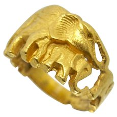 22k Solid Gold Elephant Ring