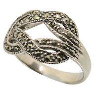Sterling Silver & Marcasite Knot Ring~ Size