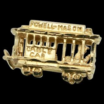Vintage 14k Gold Powell & Mason Moveable Cable Car Charm
