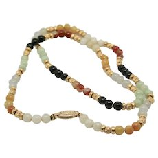 14k Gold Multi-Colored Jade Bead Necklace~ 22""