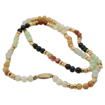"""14k Gold Multi-Colored Jade Bead Necklace~ 22"""""""