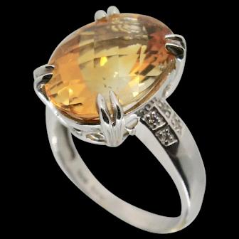 14k Gold Citrine & Diamond Ring~ 6.25